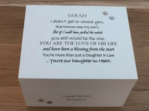 Shabby Personalised Chic Daughter in Law Special Keepsake Box Birthday Memory