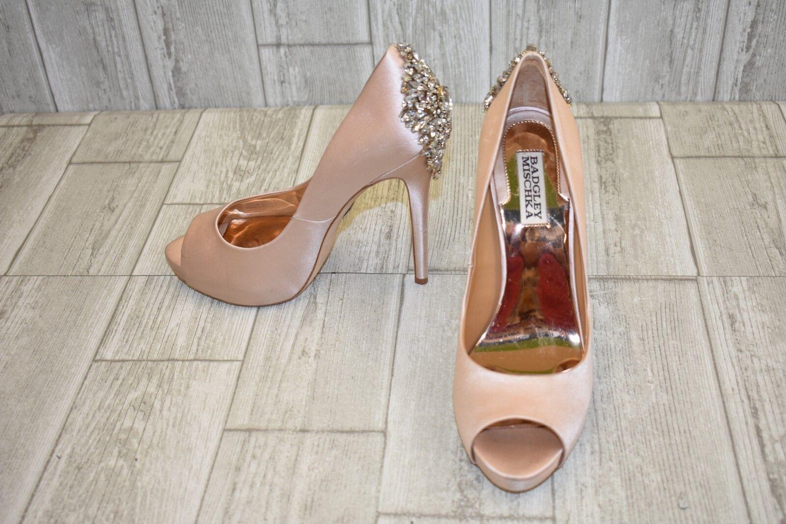 Badgley Mischka Kiara Crystal Embellished Platform Pumps-Women's size 8.5 M Pink