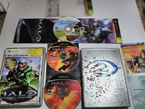 Halo-1-Combat-Evolved-Halo-2-Limited-Collectors-Edition-Original-Xbox-Lot-CIB