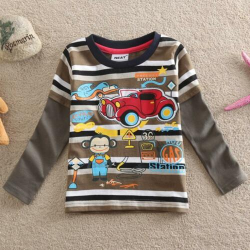 18Months - 6years car toddler boys strips 100/% cotton top Cartoon monkey