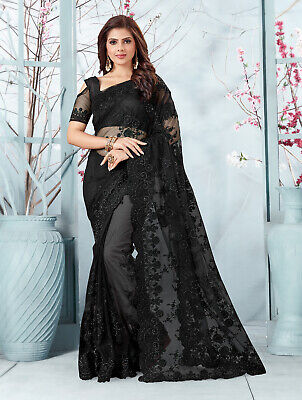 Net Pallu Sari Heavy Embroidery Floral Work saree and Sari blouse Partywear indian Wedding Wear Dress Saree For Women Partywear