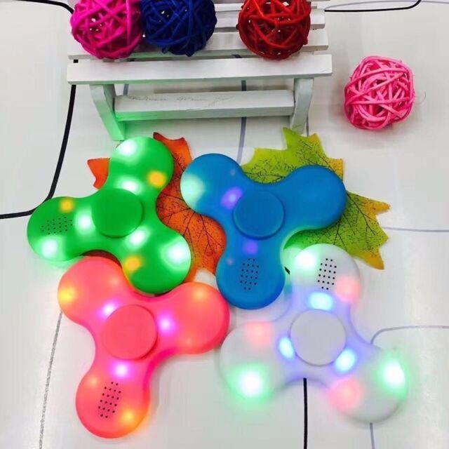 New Bluetooth Speaker LED Fidget Spinner Hand Finger EDC Focus Gyro Gift Toy