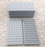 Lego X10 Pieces Light Bluish Gray 6x12 Plate Bulk Parts / Medium Stone Gray