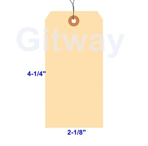 """1000-4 1//4/"""" x 2 1//8/"""" Size 4 Manila Inventory Shipping Hang Tags with Wire 13 Pt"""