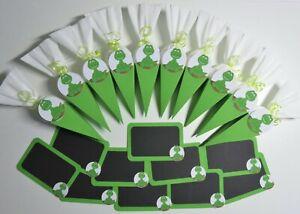 Neu 20 x Tischdeko Fußball Grün Weiß Einschulung Schulanfang Schultüte Tafel