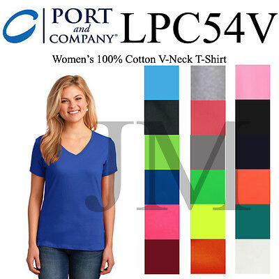 Port /& Company LPC54V Ladies 100/% Cotton* V-Neck T-Shirt
