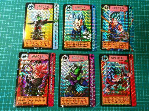 FAN CARD DRAGON BALL SUPER KAI CARDDASS  BLUE SAYIAN 6 PRISM CARDS FULL SET B