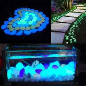 5pcs cool glow in the dark pebbles stone home decor for Glow in the dark fish tank