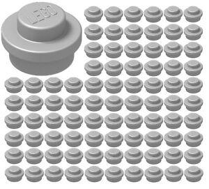 LEGO 100 FLAT SILVER ROUND 1x1 PLATES