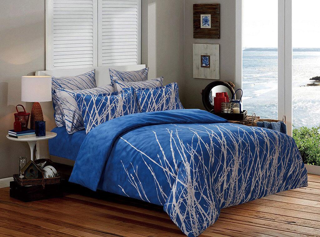 blueE TREE Duvet Doona Quilt Cover Set Double Queen King Super King Size Bed New