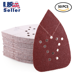 Triangle Sanding Pads,12-Hole Aluminum Oxide Sandpaper for 220 Grit, Pack of 50
