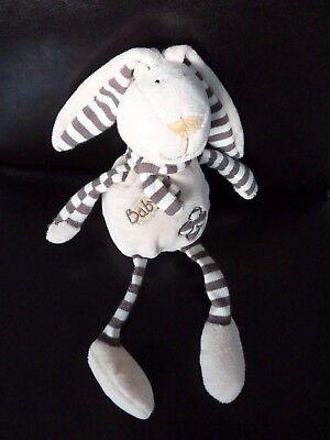 DOUDOU BABY NAT babynat/' LAPIN ECRU MARRON ECHARPE JAMBIERES RAYEES 30 cms *