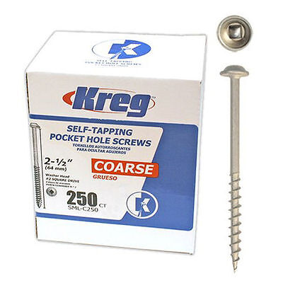 Kreg SML-C250-250 2-1/2-inch #8 Coarse Washer-Head Pocket Hole Screws, 250-Pack