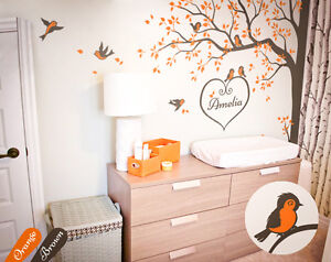 nursery corner tree wall decal with cute birds and personalized baby