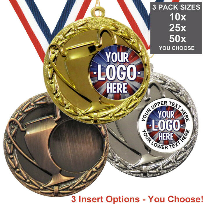 CHAMPIONS LEAGUE CUP MEDALS 50mm WITH OWN LOGO, PACK OF 10 WITH RIBBONS,INSERTS