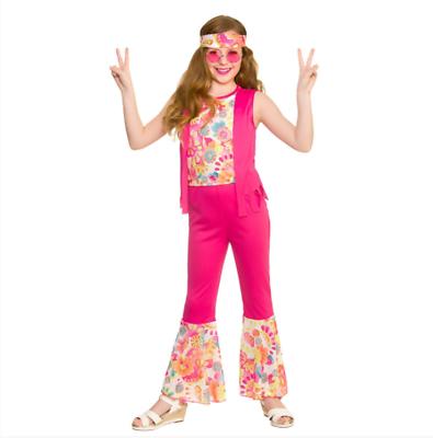 100% Vero Nuovo Groovy Hippie - Bambine 60's/70's Costume Halloween Colori Fantasiosi
