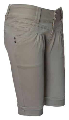 Women Cotton Chino Shorts Ladies Capri Summer Bermuda Knee Length Girls Hotpants