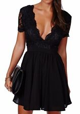 Women's Deep V Neck Backless Black Lace Dress Size M