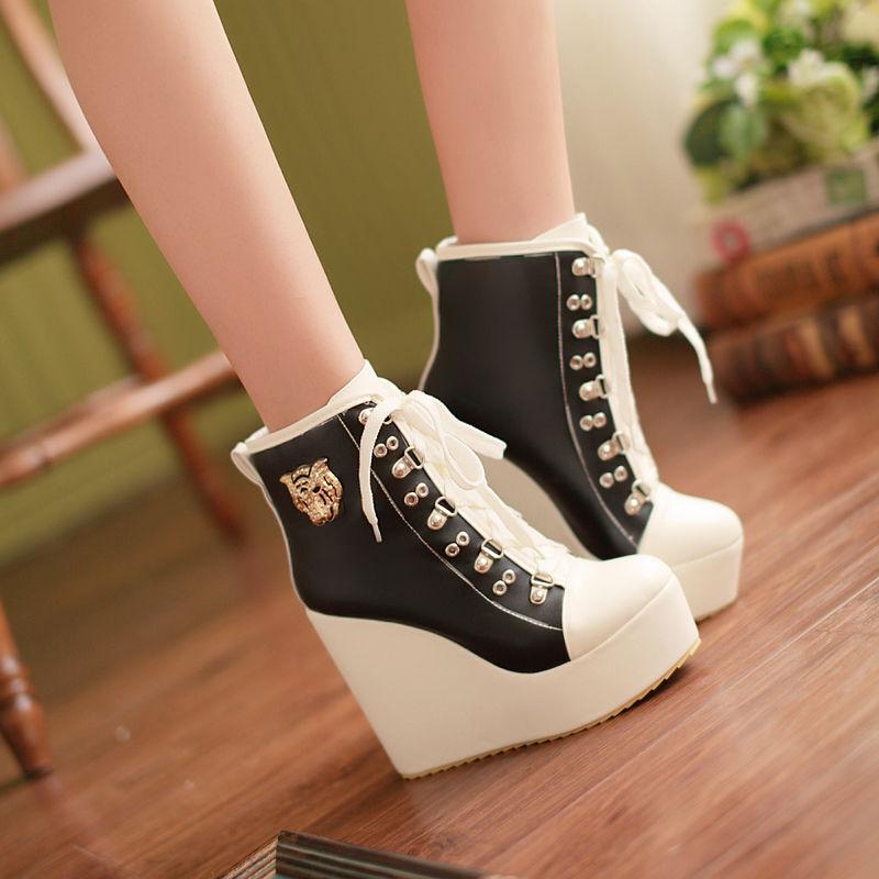 Bottes Chaussures Lacets Compensé 12 cm Cuir Synthetique Confortable Sportifs