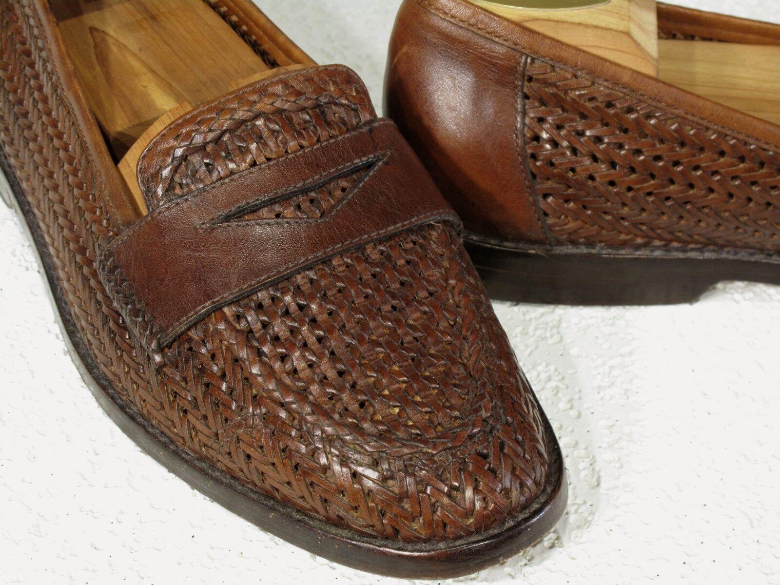 COLE HAAN RESORT Woven Calf Brown Penny Loafers Slip on Shoes 9.5M Scarpe classiche da uomo