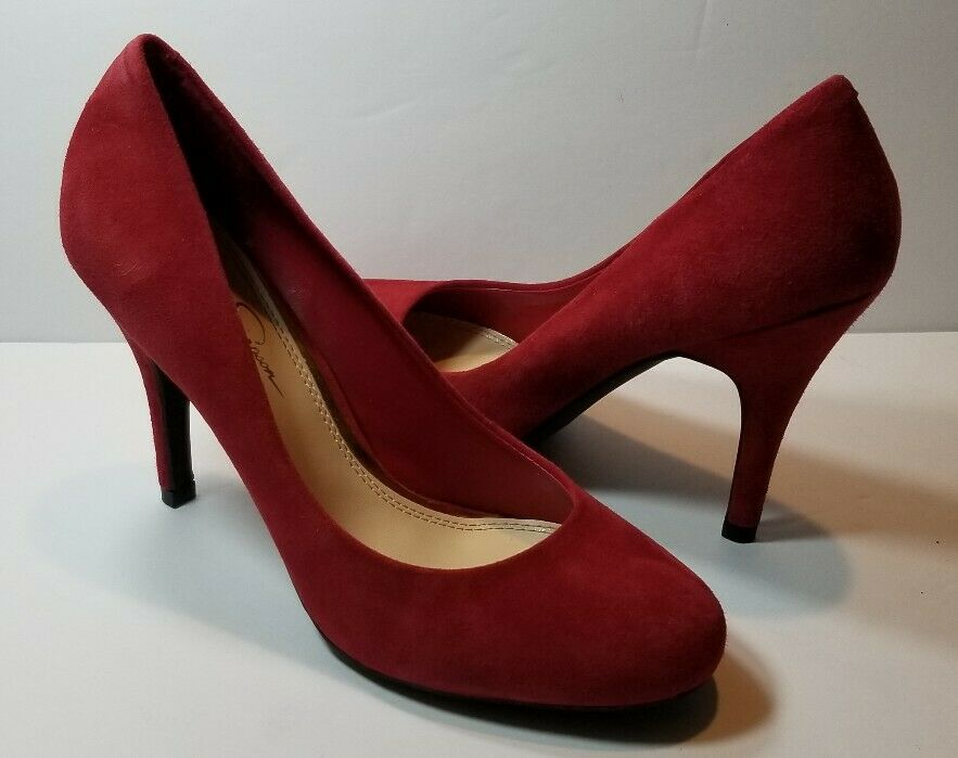 Jessica Simpson Red Suede Round Toe Pumps - Size 7B