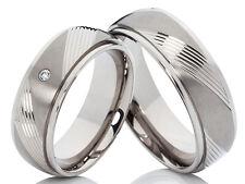 2 Titanringe Eheringe Trauringe Verlobungsringe mit Diamant & Lasergravur