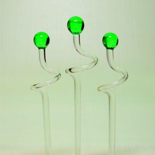 3 pièces orchideenstab verre avec balles en vert réglable en hauteur 40-60cm Lauscha