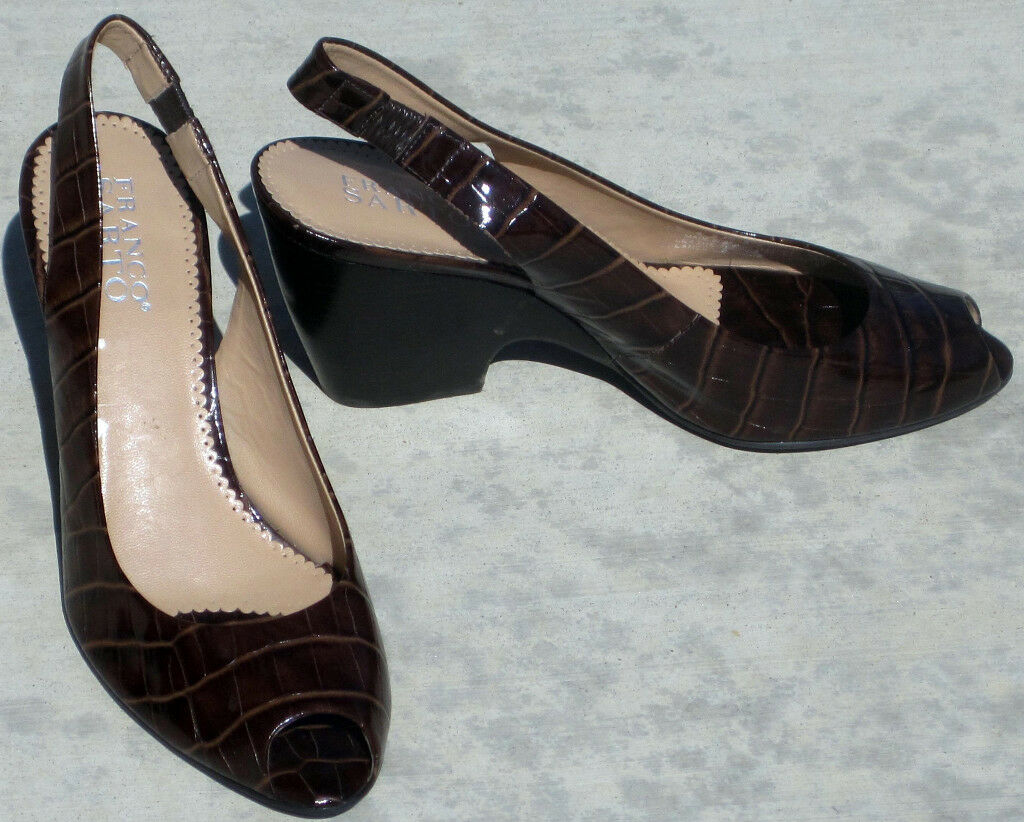 NEW FRANCO SARTO BROWN LEATHER HEELS PUMPS 7.5 BRAZIL