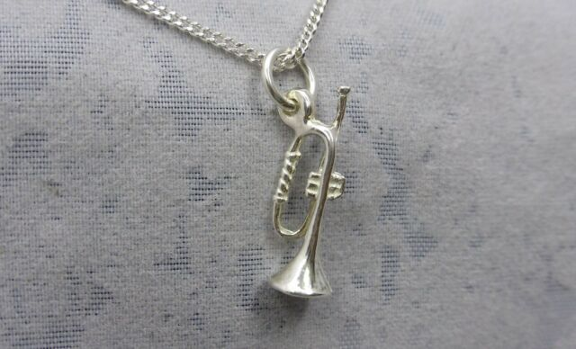 """Sterling Silver (925)  Solid 3D Charm """"Trumpet"""""""