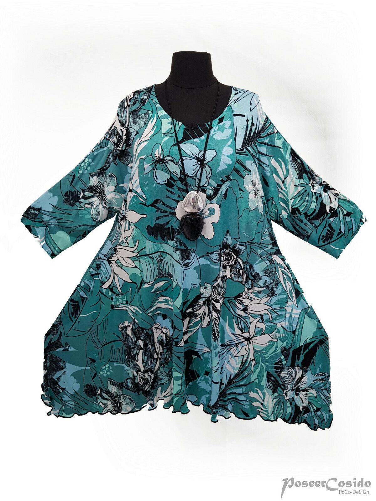 PoCo LAGENLOOK Long-Shirt Tunika 44 46 48 50 52 54 56 58 L-XL-XXL-XXXL grün
