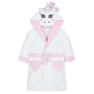 Girls UNICORN Soft Fleece Hooded Dressing Gown 9,10,11,12 Years NEW