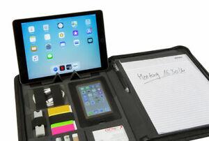 KINEON-Schreibmappe-A4-mit-Tabletfach-Handyfach-Konferenzmappe-Aktenmappe