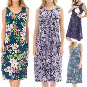 Women-Pregnant-Maternity-Nursing-Breastfeeding-Summer-Sleeveless-Floral-Dress