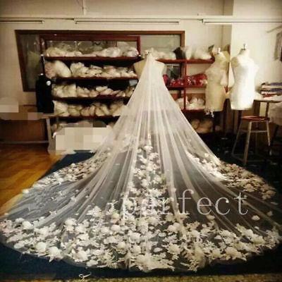 Luxury Cathedral Long Bridal Wedding Veil 3D-Floral Petal Veils Hair Accessories