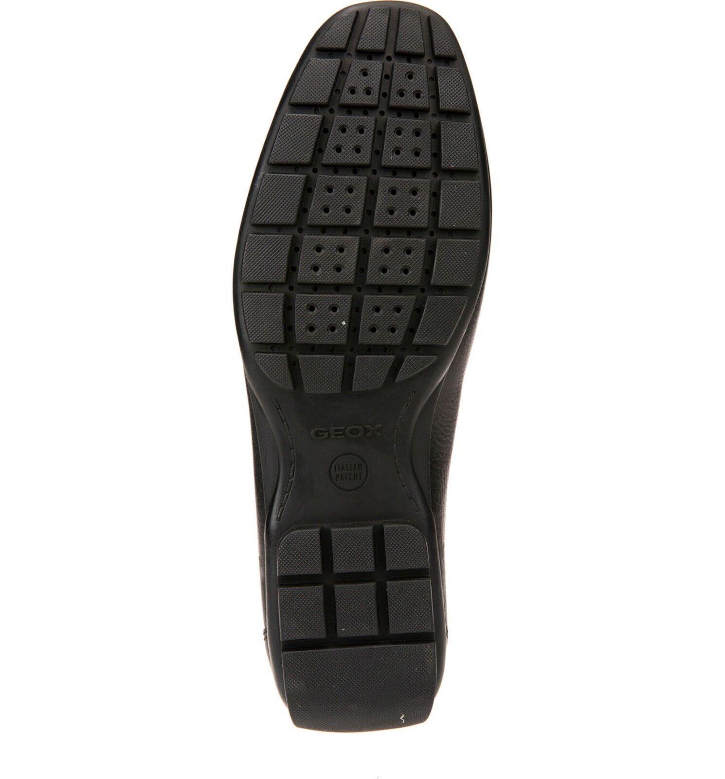 Geox Men's u Moner Mocassin Slip on penny Loafer shoes 2Fit A Black Leather