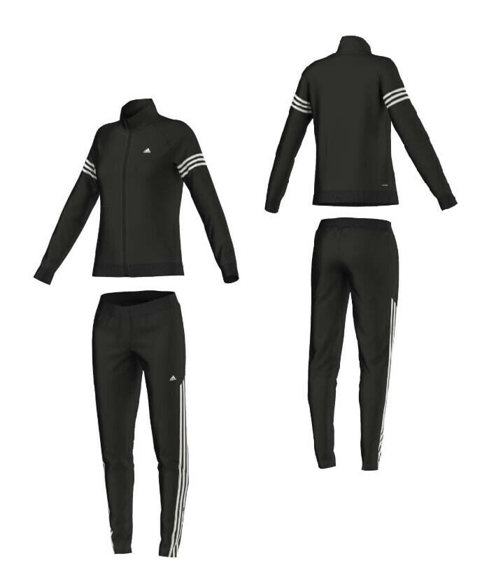 ADIDAS ClimaLite Damen Trainingsanzug Jogginganzug Sportanzug Teamsport schwarz