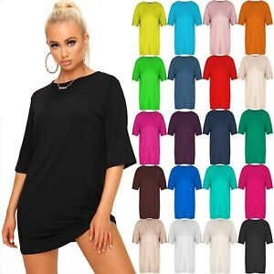 Womens-Ladies-Short-Sleeve-Baggy-Oversized-Round-Neck-Tunic-Mini-T-Shirt-Dress
