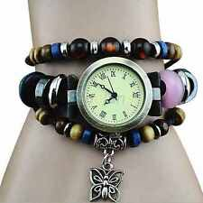 Womens Retro Roman Numeral Round Dials Leather Bracelet Quartz Wrist Watch