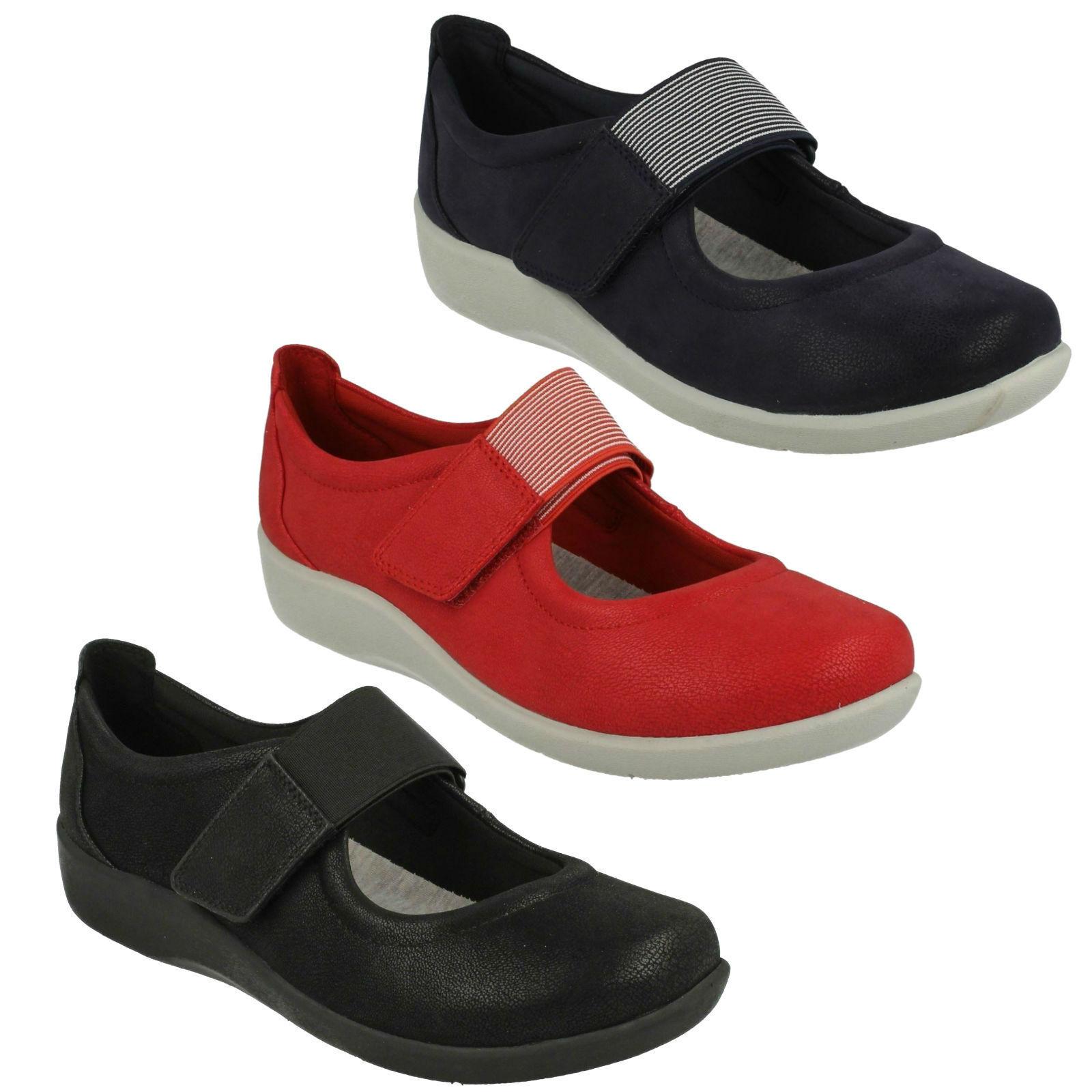 Damen Clarks cloudsteppers Klettverschluss breit Freizeit Pumps Schuhe Flache Schuhe Pumps a67cd7