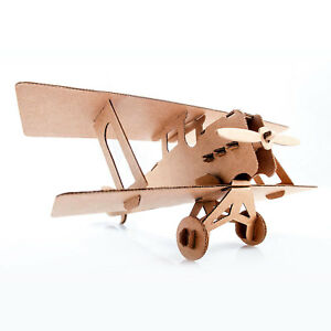 Biplane Fold-Up Cardboard Aircraft Model DIY Build Hobby Airplane Kit BROWN