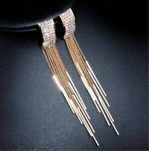Fashion-Womens-Long-Tassel-Diamante-Crystal-Ear-Stud-Drop-Dangle-Earring-Jewelry