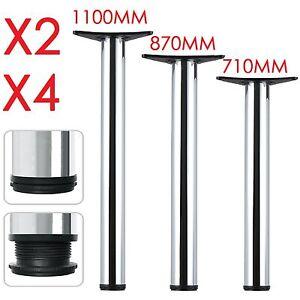 2-4-X-Pieds-de-meubles-710-870-1100mm-table-reglables-pliable-Chrome-poli-argent