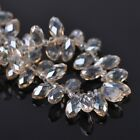 50pcs 12x6mm Teardrop Pendant Faceted Crystal Glass Loose Beads Champagne Plated