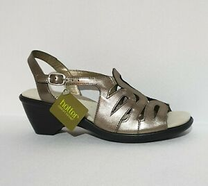 Hotter-Crystal-Comfort-Concept-Gold-Leather-Wedged-Sandals-UK-6-STD-Womens