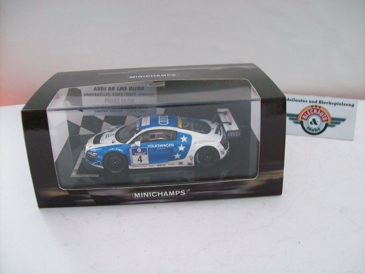 Audi r8 lms ultra  4 adac nürburgring  24h 2013,  1 43, packaging minichamps