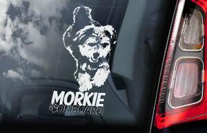 Morkie-a-Bordo-Coche-Ventana-Pegatina-Yorkshire-Terrier-Signo-Forma-V01