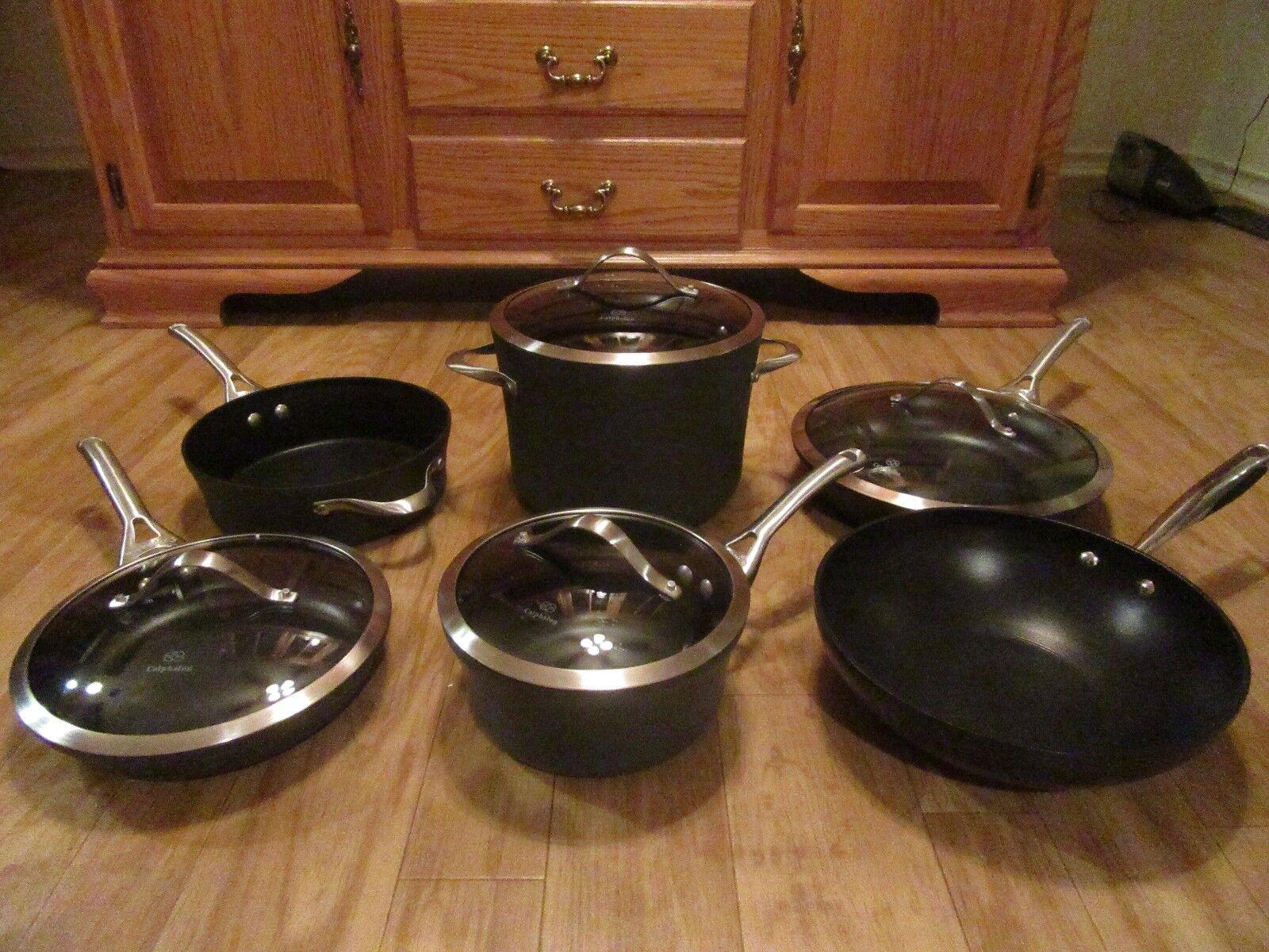Calphalon Circulon 10 Piece Cookware Pot Frying Pan Skillet Wok Set  Glass Lids