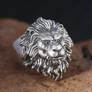 Real-925-Sterling-Silver-Ring-Lion-King-Adjustable-Size-9-10-11