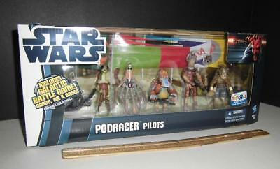 Star Wars PODRACER PILOTS 5 FIGURES WITH RACING BANNERS Exclusive EPISODE 1 NEW