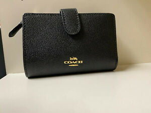 Coach F11484 Medium Corner Zip black Leather Wallet NWT
